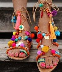 Unique Stylish Ladies Colourful Pompom Sandals