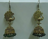Stylish Peacock Design Earring With Green Beads