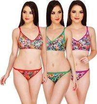 Multi Colored Net Bra & Panty Set