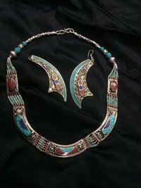 Turquoise Nepali Neckline With Crescent Danglers