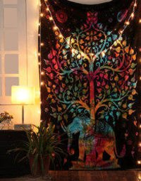 Multicolor Tie Dye Mandala Elephant Printed Wall Hanging