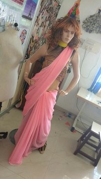Plain Sarees With Custom Made Blouse And Borders