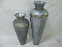 Galvanized Vases With Brass Age (Set Of 2)