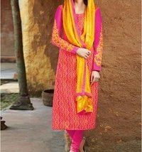 D-00008 - Pink And Orange Cotton And Silk Ladies Suit