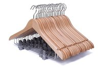 Wooden Suit Hanger With Anti Rust Clips