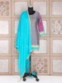 Dark Grey Silk Ladies Punjabi Suit