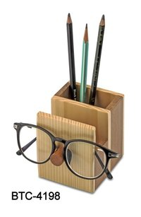 Wooden Pen Stand With Glass Holder