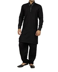 Black Linen Pathani Suit