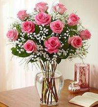 12 Pink Roses In Glass Vase