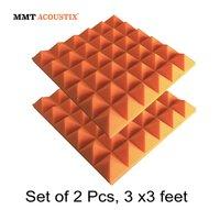 Orange Colour Pyramid Acoustic Foam Tile 3' X 3'