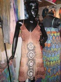 Satin Flock Print Strape Dress With Tie And Dye