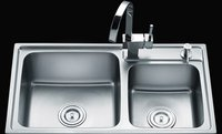 Double Bowl Stainless Steel Kitchen Sink Ky-H7843r