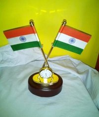 Brass Flag Stand With Clock