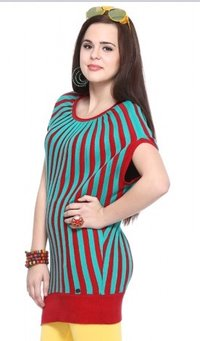 Red Half Sleeve Balloon Shaped Cotton Sweater