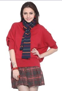 Red Quarter Sleeve Cotton Sweater