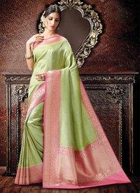 Green And Pink Colour Kanchipuram Spun Silk Zari Woven Saree