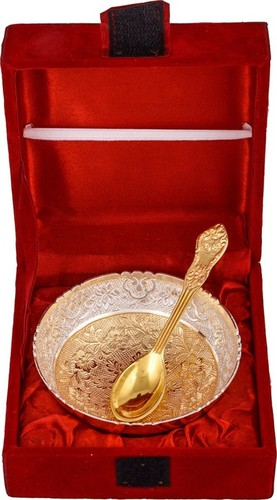 Gold Silver Plated Serving Bowl & Spoon