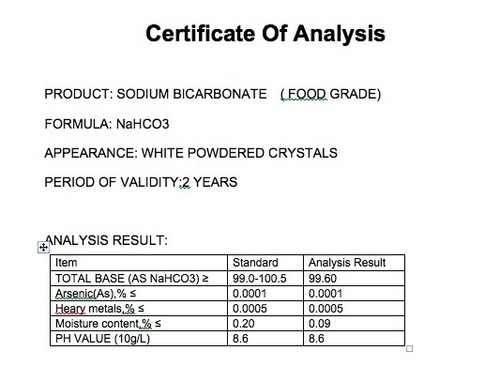 Sodium Bicarbonate Of Food Grade