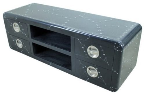 Black Aluminium TV Cabinet 4 Drawer